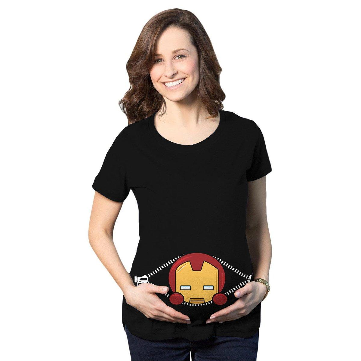 Baby Iron Man Peeking Maternity Shirt