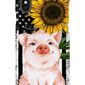 Pig Sunflower American Flag Case
