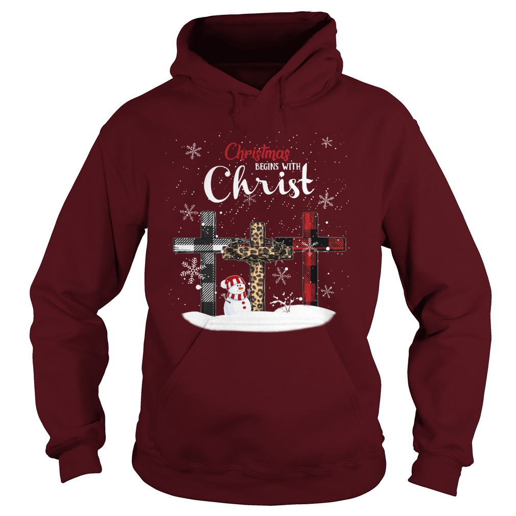 Christmas begins with Christ checkered cross Xmas hoodie