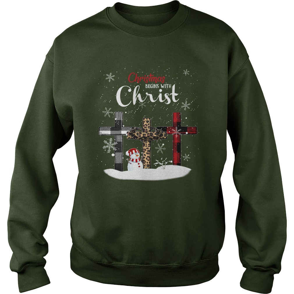 Christmas begins with Christ checkered cross Xmas sweatshirt