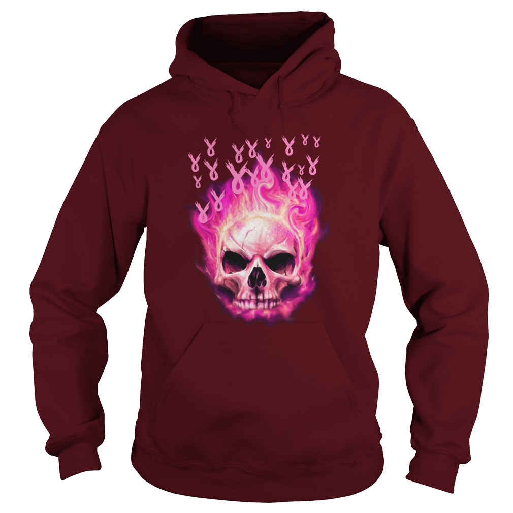 Skull fire breast cancer awareness hoodie