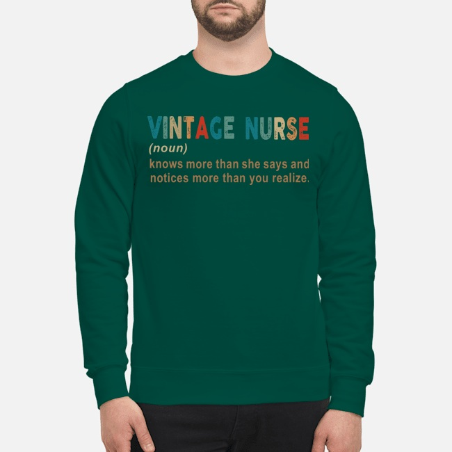 Vintage nurse knows more than she says and notices sweatshirt