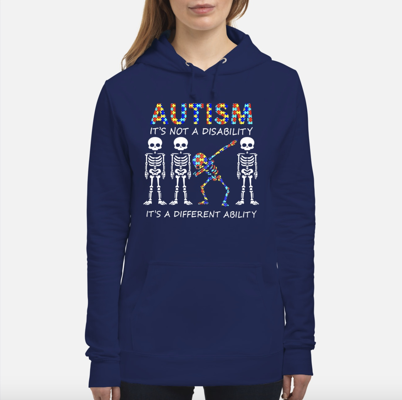 Autism it's not a disability it's a different ability skeletons hoodie