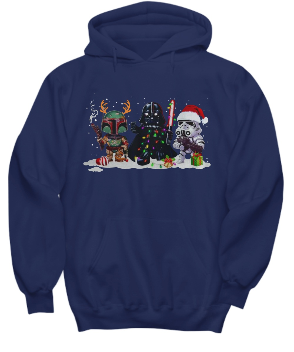 Boba Fett Darth Vader and Stormtrooper Christmas Hoodie