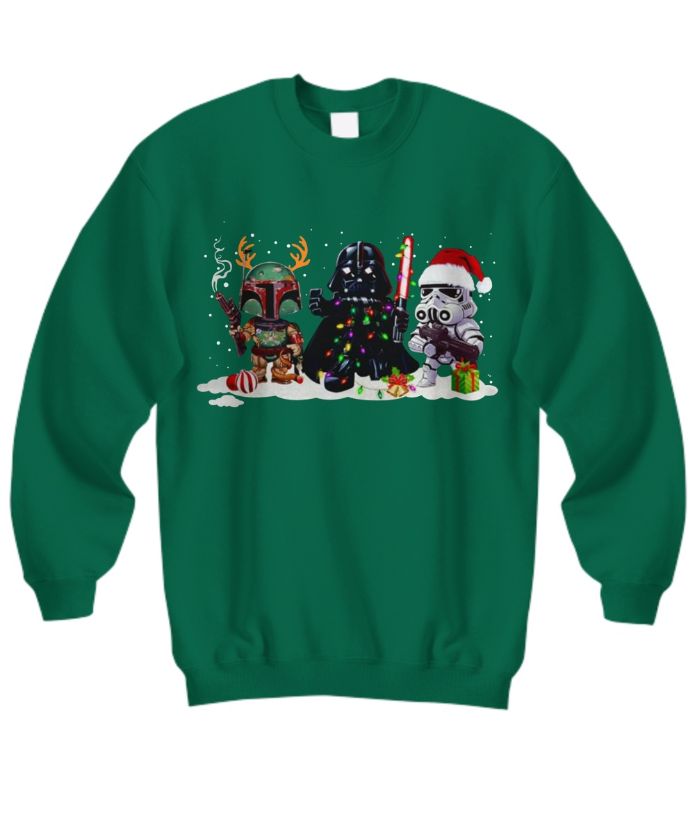 Boba Fett Darth Vader and Stormtrooper Christmas Sweatshirt