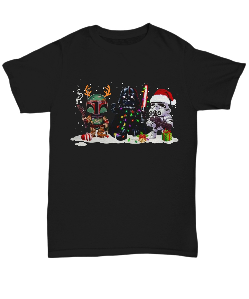 Boba Fett Darth Vader and Stormtrooper Christmas Unisex Shirt