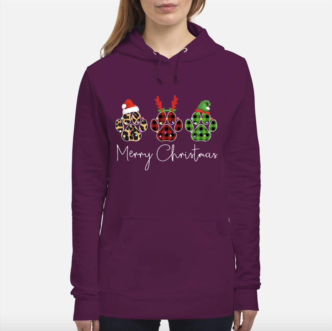 Dog Paws Merry Christmas Cute Hoodie