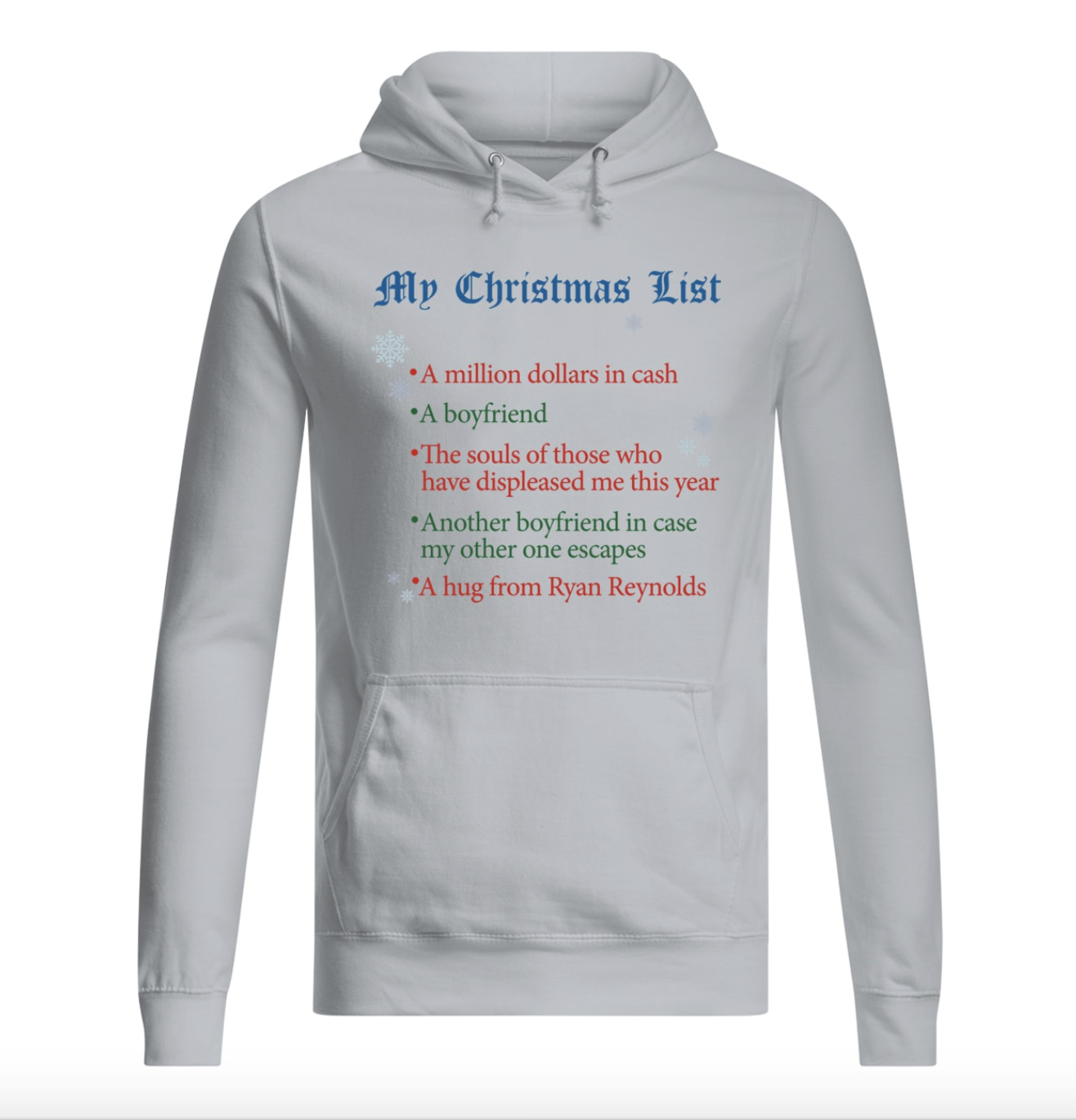 My Christmas list a million dollars in cash hoodie