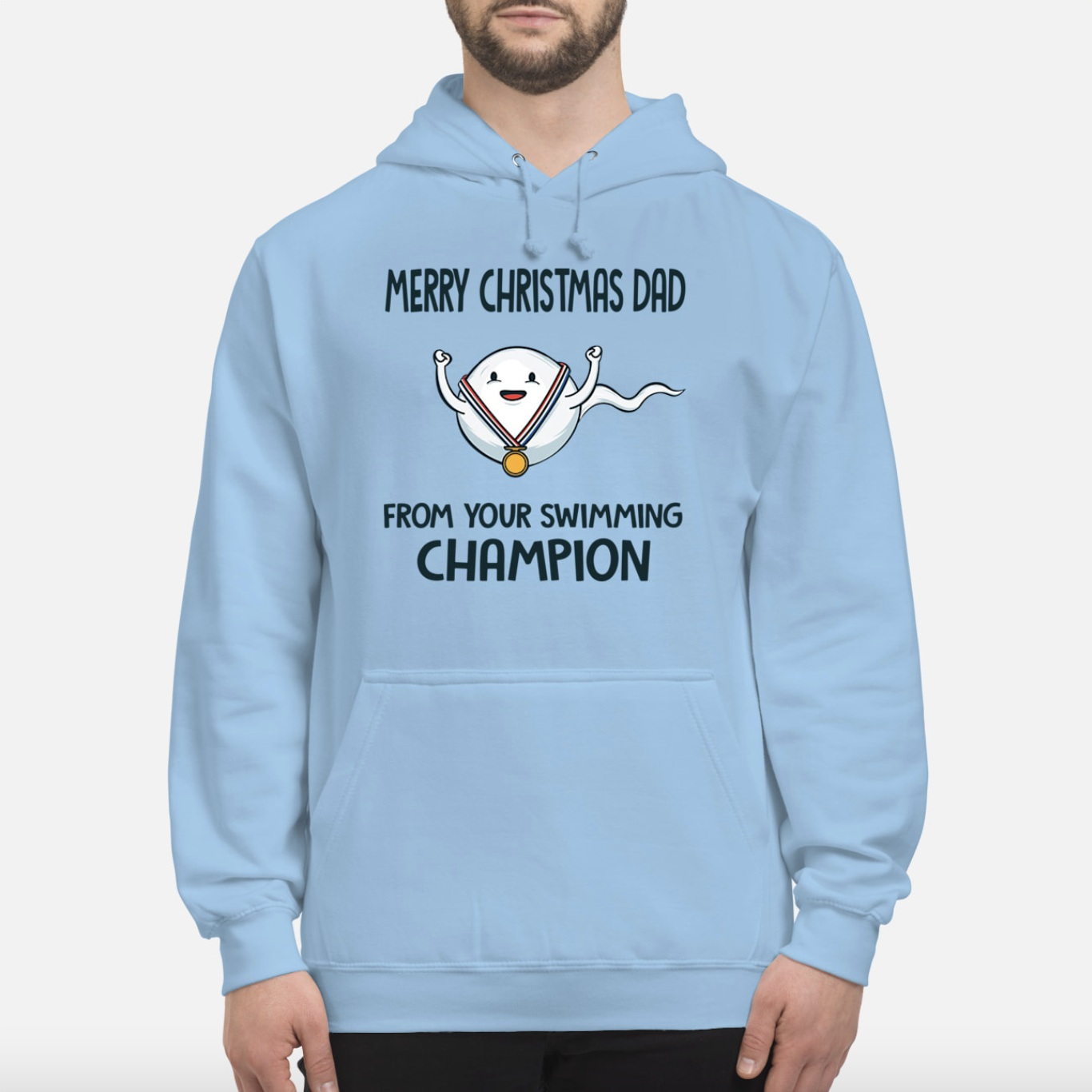 Sperm Merry Christmas dad from your swimming champion hoodie