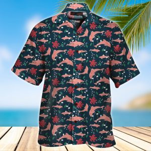 Pink Dolphin with turtle Hawaiian Shirt And Short