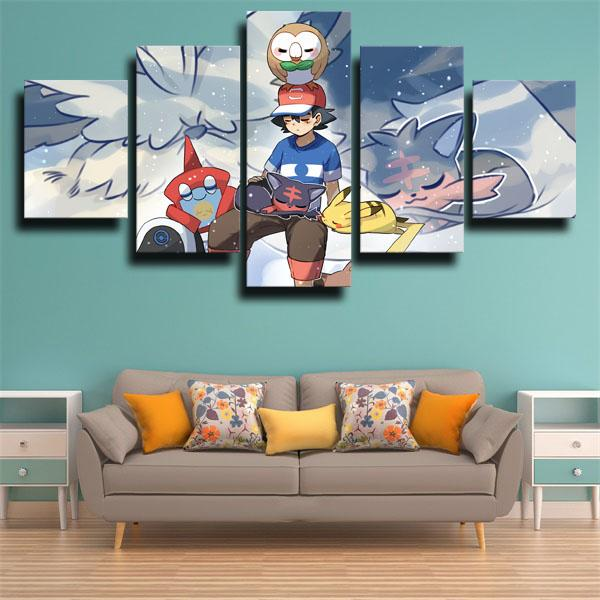 Litten with Other Characters 5 panel canvas