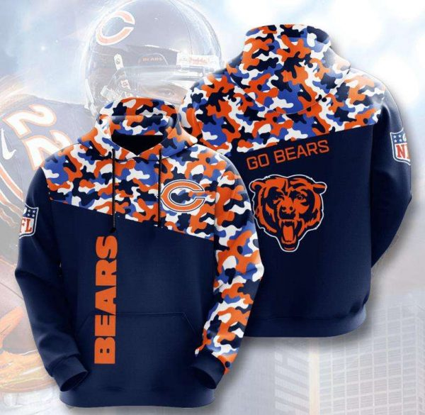 Chicago Bears Camouflage 3D Hoodie LIMITED EDITION