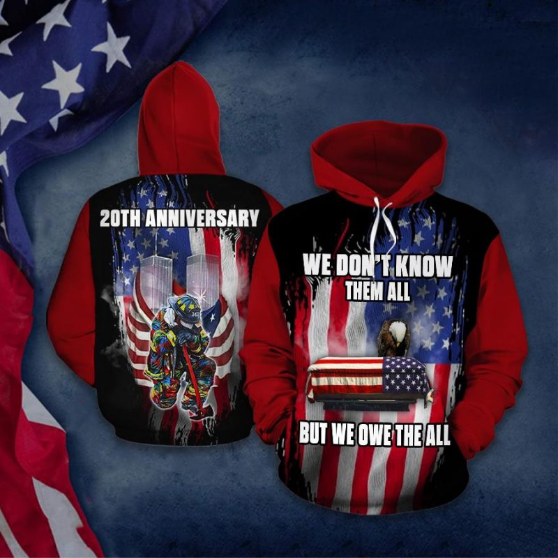 9 11 Attacks Remember Never Forget Twin Towers Hoodie 3D