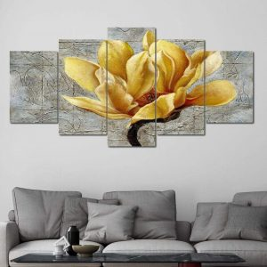 Bloom Flower of Life 5 panel wall art canvas