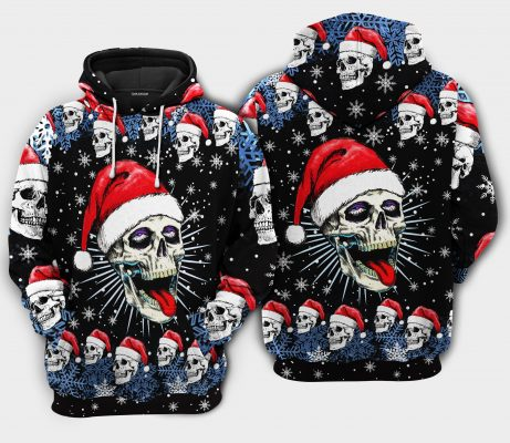 Christmas Skull On The Naughty Hoodie Limited