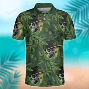 SKULL GREEN WEED LEAF PATTERN POLO SHIRT