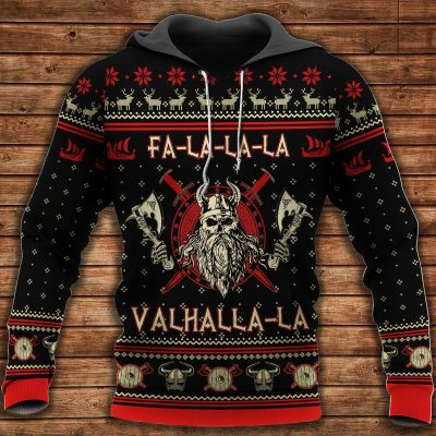 Viking valhalla black and red Hot Hoodie