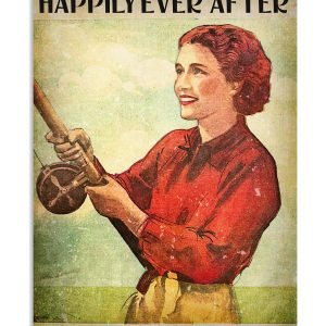 Fishing girl She lived happily ever after vertical poster