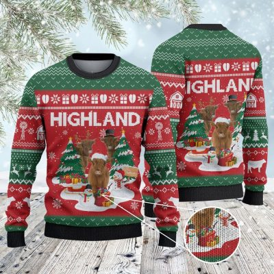 HIGHLAND CATTLE CHRISTMAS TREE UGLY SWEATER