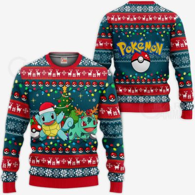 Bulbasaur and Squirtle Ugly Christmas Sweater Pokemon Chirstmas Gift