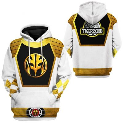 Mighty Morphin Power Ranger White Hoodie 3D Special Edition