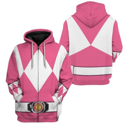 Cosplay Pink MIGHTY MORPHIN Power Ranger Personalized Hoodies