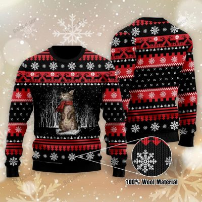 Cats Black and Red Christmas Ugly Sweater