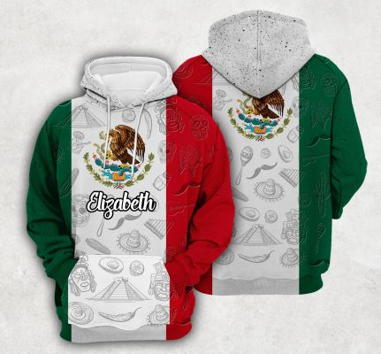 Mexico Flag And Symbol Personalized Hoodie
