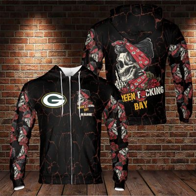NFL Green Fucking Bay Skull Girl Red and Black Hoodie