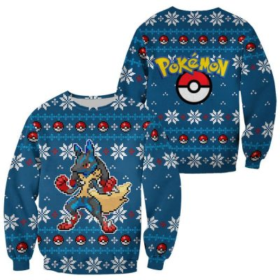Pokemon Ugly Christmas Sweater Lucario Chirstmas Gift Clothes